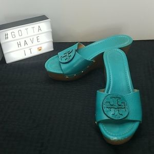 Tory Burch Turquoise Leather Platform Wedges